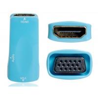 Мужчина HDMI к VGA Женский адаптер с 3.5 мм аудио разъем (синий)