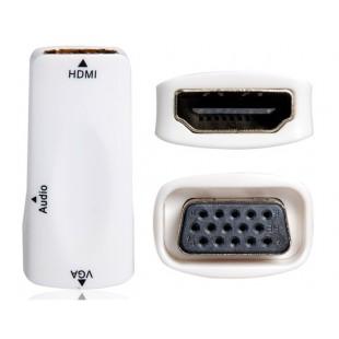 HDMI мужчина к VGA Женский адаптер с 3,5 мм аудио разъем (белый)