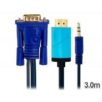 3-метровый HDMI для VGA конвертер для кабеля с аудио (синий)