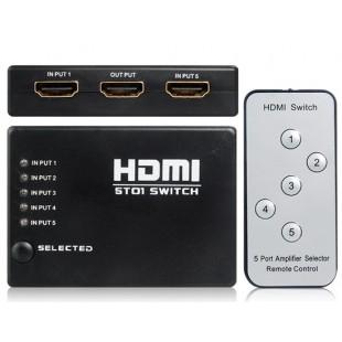 5 до 1 HDMI 1.4 переключатель с ИК пульта дистанционного управления (черный)