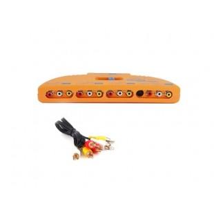 4 Вход 1 Выход системы AV Коммутатор аудио Selector видеовход (оранжевый)