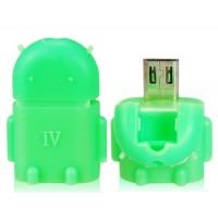Google Android Робот Дизайн OTG адаптер конвертер Smart Hub с Micro USB / USB 2.0 (зеленый)