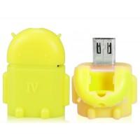 Купить Google Android Робот Дизайн OTG адаптер конвертер Smart Hub с Micro USB / USB 2.0 (желтый)