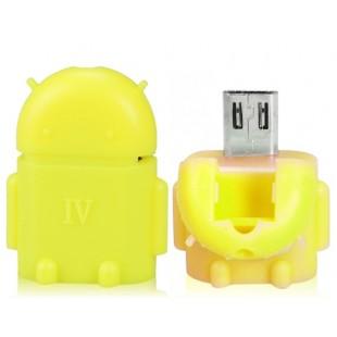 Google Android Робот Дизайн OTG адаптер конвертер Smart Hub с Micro USB / USB 2.0 (желтый)