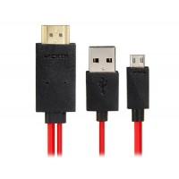 МХЛ Micro USB для кабеля HDMI HDTV адаптер 2,0 М (черный + красный)