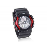 SKMEI водонепроницаемый светодиодный наручные спортивные часы с календарем, секундомером (красный)