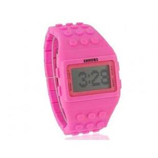 ЖК-экран Электронные часы с пластиковым ремешком (розовый)
