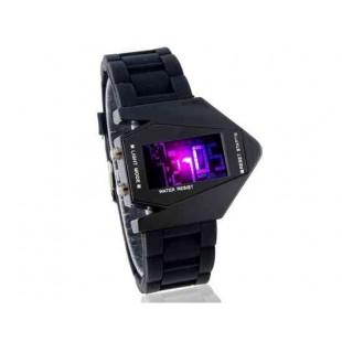 Стильные цифровые часы  силиконовый ремешок (черный)