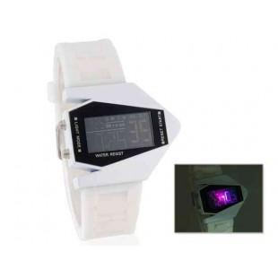 Стильные цифровые часы и силиконовый ремешок (белый)
