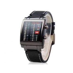 Мужские светодиодные часы  кожаный ремешок (черный)
