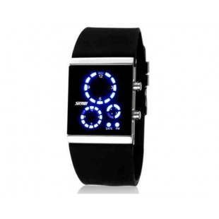 SKMEI 0984 3ATM водонепроницаемые светодиодные цифровые спортивные часы для подводного плавания  (Черный)