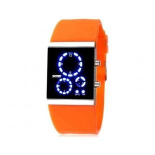 SKMEI 0984 3ATM водонепроницаемые светодиодные цифровые спортивные часы для подводного плавания  (оранжевый)