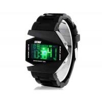 Skmei 0817 5ATM водонепроницаемые часы с силиконовым ремешком, LED  (черный)