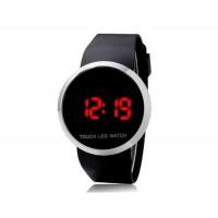 Круглый циферблат цифровой дисплей светодиодные часы с сенсорным дисплеем и  каучуковым ремешком (черный)
