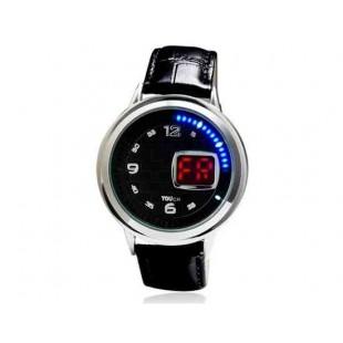 Многофункциональный круглый светодиодный сенсорный экран аналоговые часы (черный) М.