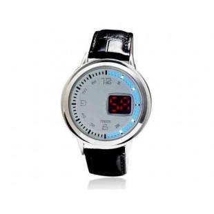 Многофункциональный круглый светодиодный сенсорный экран аналоговые часы (белый)
