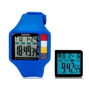 SHORS SH-601 Светодиодный дисплей Водонепроницаемые часы (синий)