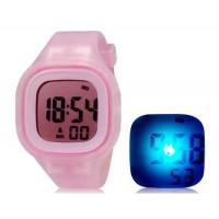 SHORS SH-689  светодиодные цифровые водонепроницаемые часы с будильником и подсветкой (розовый)