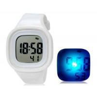 SHORS SH-689 светодиодные цифровые водонепроницаемые часы с будильником и подсветкой (белый)