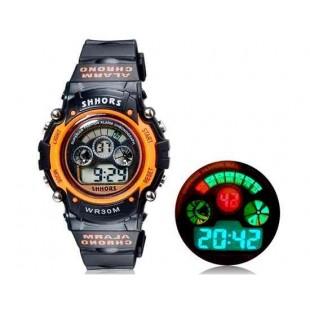 SHORS SH-353  Водонепроницаемые круглые часы с цифровым светодиодным дисплеем для мужчин и женщин (оранжевые) М.