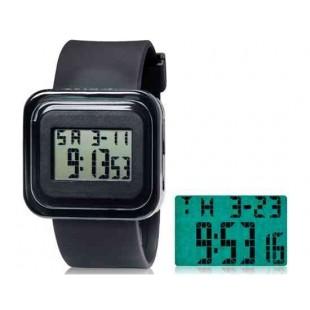 SHORS SH-615 Unisex светодиодный цифровой водонепроницаемые часы с будильником и подсветкой (черный)