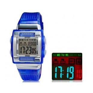 SHORS SH-358 Светодиодный дисплей Водонепроницаемые часы (синий)