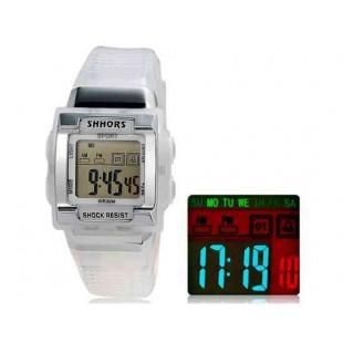 SHORS SH-358 светодиодный цифровой дисплей водонепроницаемые часы (белый)