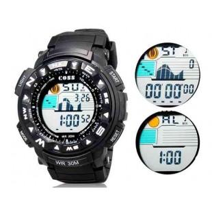 КОСС 1303а  30m водонепроницаемые часы с силиконовым ремешком (черный)