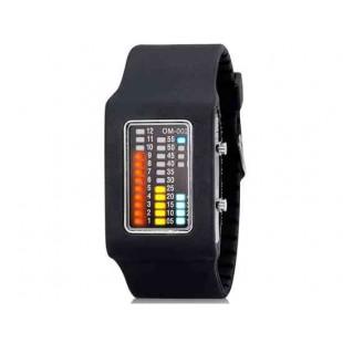 Стильный 31-LED часы с силиконовым ремешком (черный)