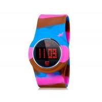 Унисекс сенсорным экраном, LED Slap часы с красочные пластиковые ремень (синий и красный) м.