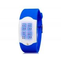 Стильные светодиодные электронные часы с силиконовым ремешком (синий)
