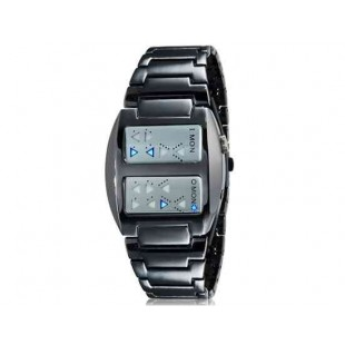 Стильные светодиодные наручные часы с нержавеющей стали браслет (черный)