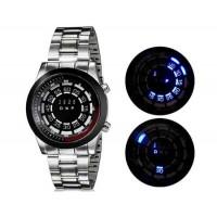 Круглый циферблат светодиодные наручные часы с браслетом из нержавеющей стали (черный) М.