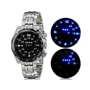Светодиодные наручные часы с браслетом из нержавеющей стали с синей подсветкой