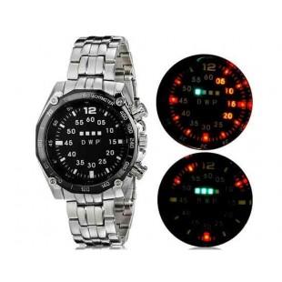 Светодиодные наручные часы с браслетом из нержавеющей стали с оранжевой подсветкой