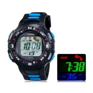 LASIKA F72 цифровые спортивные часы, календарь, таймер (синий)