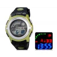 Купить LASIKA F64 цифровые спортивные часы, календарь, будильник (черный и зеленый) М.