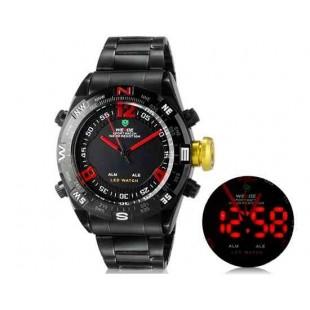 WEIDE 2310 Аналоговый и Цифровой циферблат 30 м Водонепроницаемые светодиодные спортивные часы с нержавеющим стальным браслетом (красный)