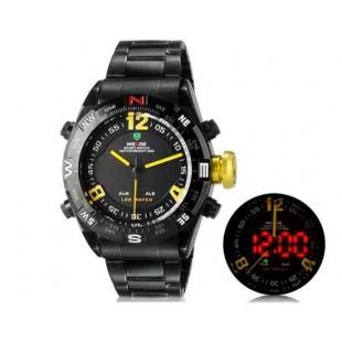 WEIDE 2310 Аналоговый и Цифровой циферблат 30 м Водонепроницаемые светодиодные спортивные часы с нержавеющим стальным браслетом (желтый)