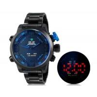 WEIDE 2309 Аналоговый и Цифровой циферблат 30 м Водонепроницаемые светодиодные спортивные часы с нержавеющим стальным браслетом (синий)