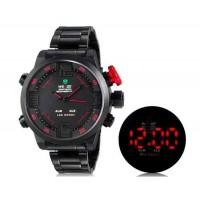 WEIDE 2309 Аналоговый и Цифровой циферблат 30 м Водонепроницаемые светодиодные спортивные часы с нержавеющим стальным браслетом (красный)