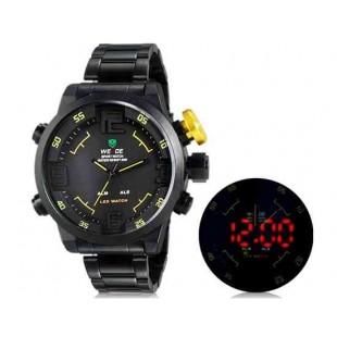 WEIDE 2309 Аналоговый и Цифровой циферблат 30 м Водонепроницаемые светодиодные спортивные часы с нержавеющим стальным браслетом (желтый)