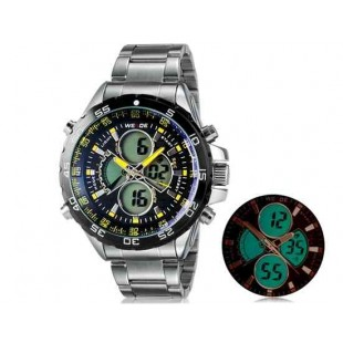 WEIDE 1103 Аналоговый и Цифровой циферблат 30 м Водонепроницаемые светодиодные спортивные часы (желтый)