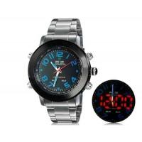 WEIDE 1105 Аналоговый и Цифровой циферблат светодиодные спортивные часы (синие)