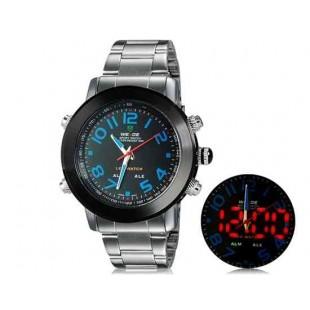 WEIDE 1105 аналоговый и цифровой циферблат водонепроницаемые светодиодные спортивные часы (синие)