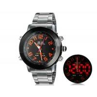 WEIDE 1105 Аналоговый и Цифровой циферблат 30 м Водонепроницаемые светодиодные спортивные часы  (оранжевый)