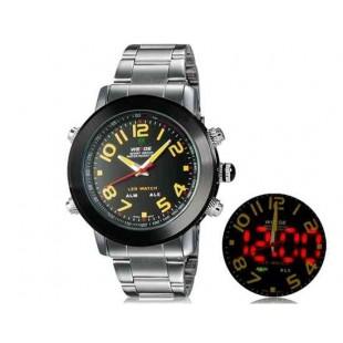 WEIDE 1105 Аналоговый и Цифровой циферблат 30 м Водонепроницаемые светодиодные спортивные часы  (желтый)