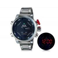 WEIDE 2309 Аналоговый и Цифровой циферблат 30 м Водонепроницаемые светодиодные спортивные часы с нержавеющим стальным браслетом (Черный)