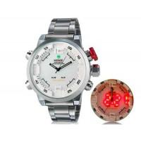 WEIDE 2309 Аналоговый и Цифровой циферблат 30 м Водонепроницаемые светодиодные спортивные часы с нержавеющим стальным браслетом (белый)