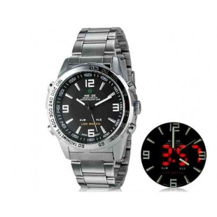WIDE 1008 Аналоговый и Цифровой дисплей  30 м Водонепроницаемые светодиодные спортивные часы с браслетом (белый и черный)